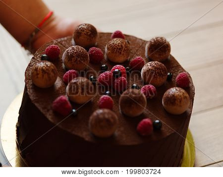 Close-up of spongy chocolate cake with appetizing sappy pink raspberries and blackcurrants that a confectioner puts on a wooden table on a blurred light background.