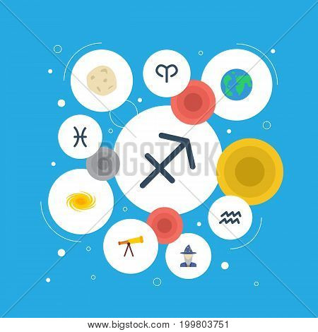 Flat Icons Archer, Fishes, Optics And Other Vector Elements