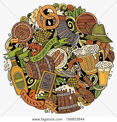 Cartoon vector doodles Beer fest illustration. Colorful, detailed, with lots of objects background. All objects separate. Bright colors Oktoberfest funny round picture