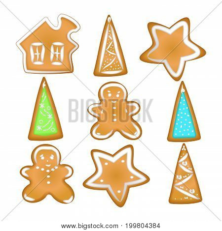 Gingerbread cookies with a glaze. Homemade pastries with spices. Isolated on white background without shadow. A set of Christmas cookies./ Little house little man tree star /