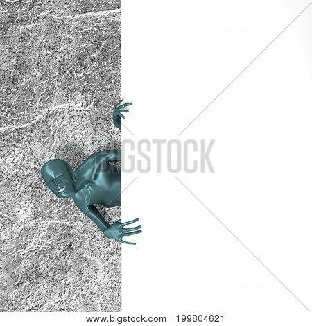 Zombie showing and displaying placard ready for your text. 3D rendering
