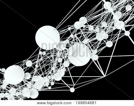 Molecule And Communication Background. Brochure or web banner design. Lines and spheres. Concept of medical, technology, chemistry, science and internet network. Shallow depth of field. 3D rendering.
