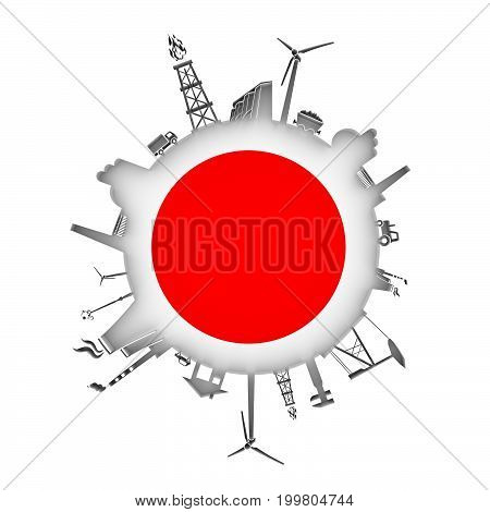 Circle with industry relative silhouettes. Objects located around the circle. Industrial design background. Flag of Japan in the center. 3D rendering.