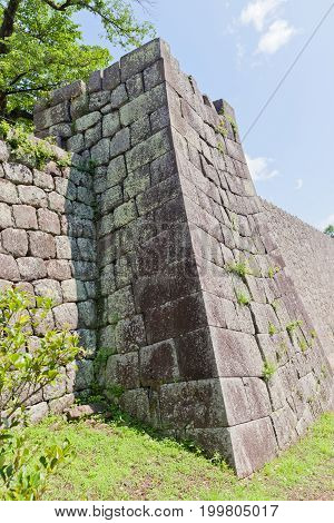 Stone walls of Shirakawa (Komine) Castle Japan. Castle was founded in 1340 rebuilt in 1627 destroyed in war of 1868 and reconstructed in 1991