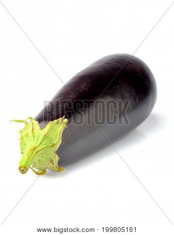 Raw eggplant isolated with clipping path on white background.