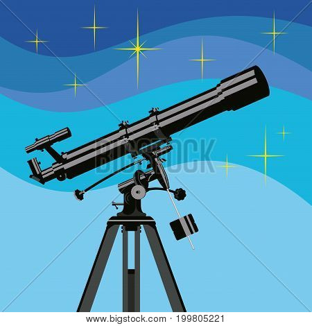 Vector telescope for observing the cosmos of stars and planets isolated on white background.