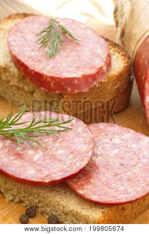Smoked Sausage With Spices And Greens For Sandwiches