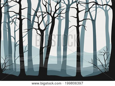 Vector seamless misty forest scene illustration or background