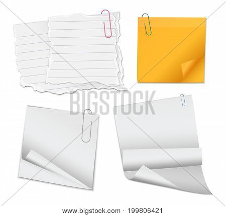 Set of blank sticky note papers and documents with paperclips isolated on white background