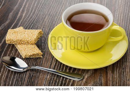 Cup Of Tea, Broken Kozinaki With Sesame And Teaspoon