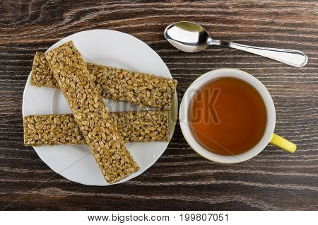 Cup Of Tea, Kozinaki With Sunflower Seeds  In White Plate