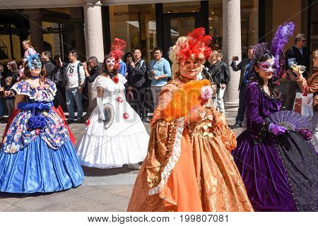 Venetian Masks Exhibited  With Dances In Lugano On Switzerland