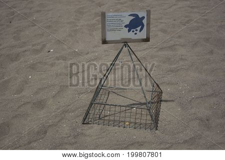 Caretta caretta spawning place. Protection zone sign