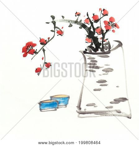 Chinese painting of flowers, plum blossom at vase,with cup.
