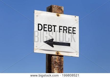 Debt Free Word And Arrow Signpost
