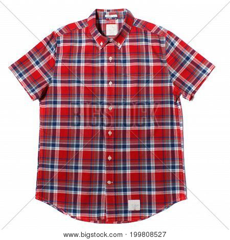 Red check button down short sleeve men's shirt