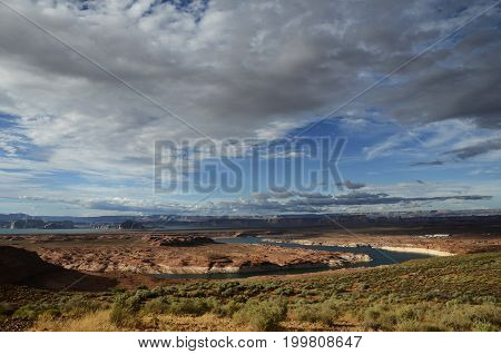 Lake Powell scenic view landscape USA and cloudy sky