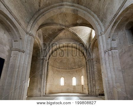 MONTMAJOUR FRANCE - JUNE 26 2017: Interior of Abbey of St. Peter in Montmajour near Arles France