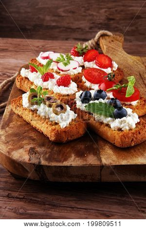 Bread Brushetta Or Authentic Traditional Spanish Tapas Set For L