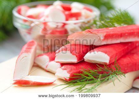 Crab Sticks Prepared For Eatting