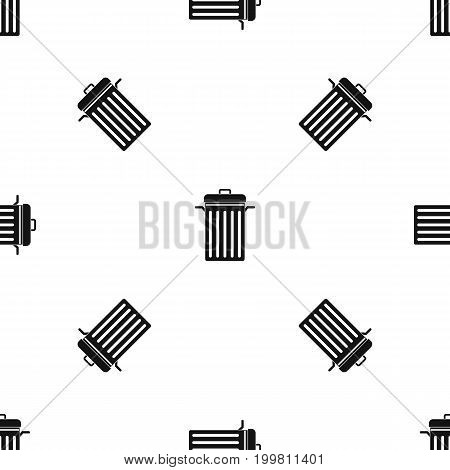 Metal trash can pattern repeat seamless in black color for any design. Vector geometric illustration