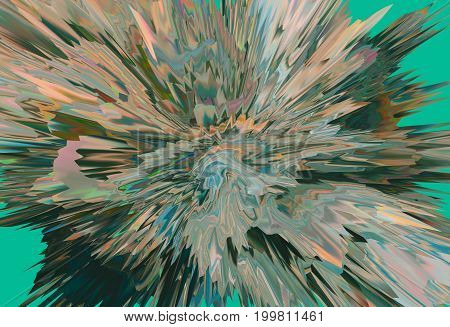 Background of glitch manipulations with 3D effect. Abstract flow of crystals in green shades. It can be used for web design printed products and visualization of music