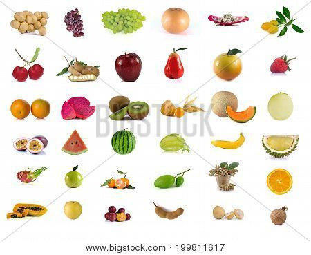 fruits set mix isolated on white background