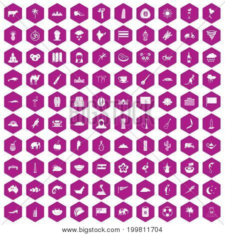 100 exotic animals icons set in violet hexagon isolated vector illustration