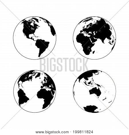 Black Earth globe in line art style in four turns on white background. North and South America Eurasia and Africa Atlantic Australia in rotations. Vector illustration