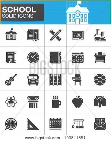 School icons set, modern solid symbol collection, filled style pictogram pack. Signs, logo illustration. Set includes icons as homework, school building, violin, ball, bus, flask, atom grades
