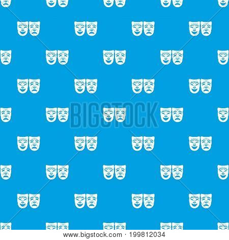 Happy and sad mask pattern repeat seamless in blue color for any design. Vector geometric illustration