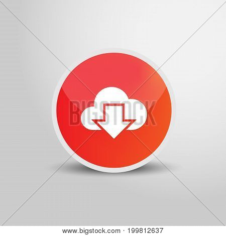 Download sign icon in circle. Download 3D round circle icon. Vector stock.
