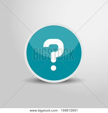 Question mark icon in circle. Question mark 3D round circle icon. Vector stock.