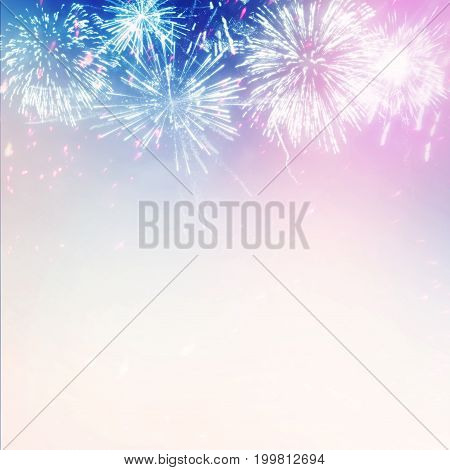 Statue of Liberty with July 4 Fireworks in Patriotic USA colors. 3D illustration