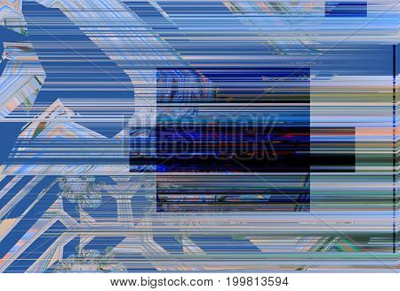 Modern background with dead pixel and bug glitch and error signal. Optical distortion overlapping geometric. It can be used for web design printed products and visualization of music.