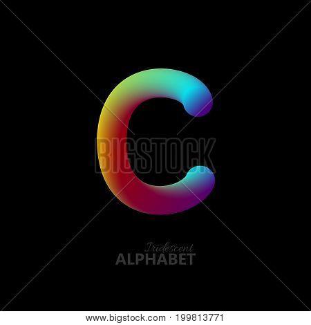 3d iridescent gradient letter C. Typographic minimalistic element. Vibrant gradient shape. Liquid color path. Creativity concept. Visual communication poster design. Vector illustration. Logo template