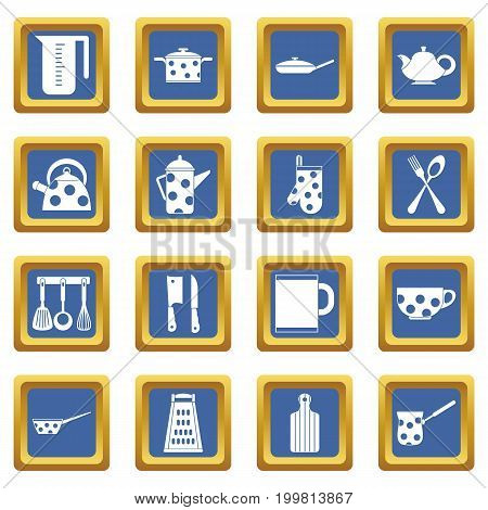 Kitchen tools and utensils icons set in blue color isolated vector illustration for web and any design
