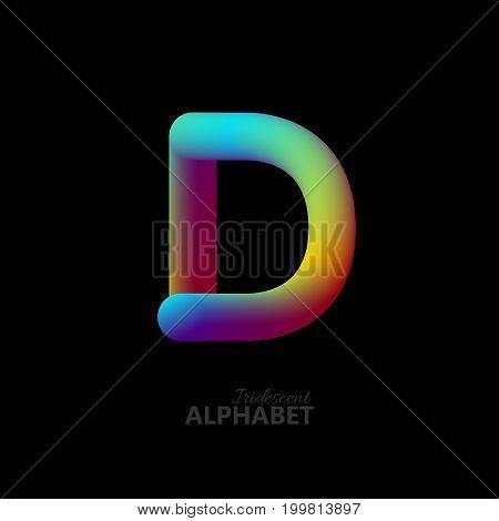 3d iridescent gradient letter D. Typographic minimalistic element. Vibrant gradient shape. Liquid color path. Creativity concept. Visual communication poster design. Vector illustration. Logo template