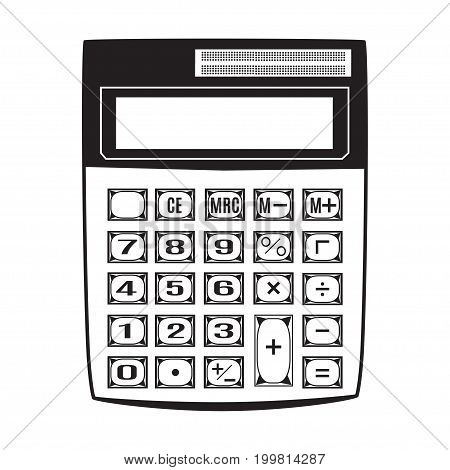 Vector illustration of calculator. Electronic black calculator template on white background.