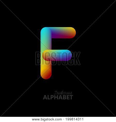 3d iridescent gradient letter F. Typographic minimalistic element. Vibrant gradient shape. Liquid color path. Creativity concept. Visual communication poster design. Vector illustration. Logo template