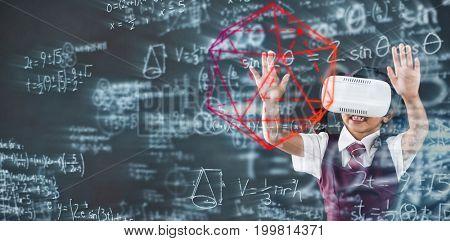 geometry problem against schoolgirl using virtual reality headset against blackboard