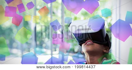 Three dimension image of square with formulas against girl using virtual reality headset at home