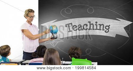 Teacher with students holding globe against teaching against black background