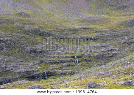 Water Stream Tumbling Down Over Cliffs In Scottish Highlands