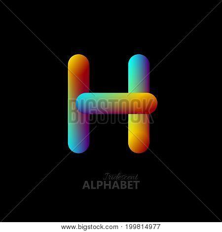3d iridescent gradient letter H. Typographic minimalistic element. Vibrant gradient shape. Liquid color path. Creativity concept. Visual communication poster design. Vector illustration. Logo template