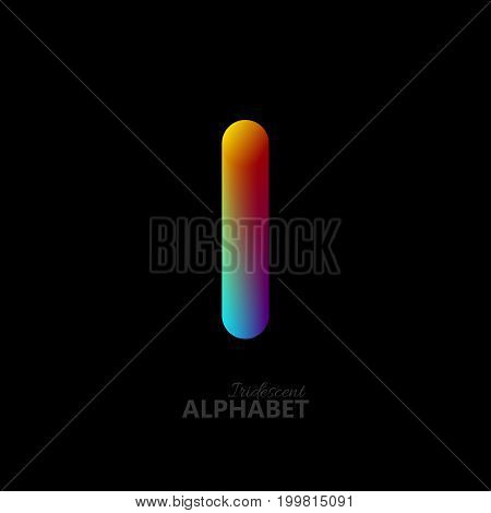 3d iridescent gradient letter I. Typographic minimalistic element. Vibrant gradient shape. Liquid color path. Creativity concept. Visual communication poster design. Vector illustration. Logo template