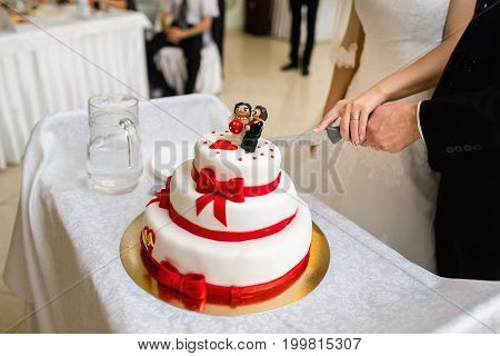 Couple Cut Wedding Cake With Red Ribbons And The Figurine