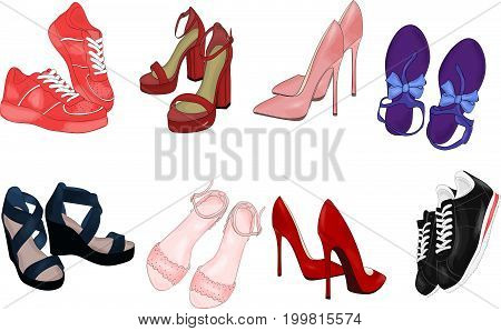 Vector of hand drawn fashion illustration isolated on white background. A set of shoes: sneakers shoes and sandals.