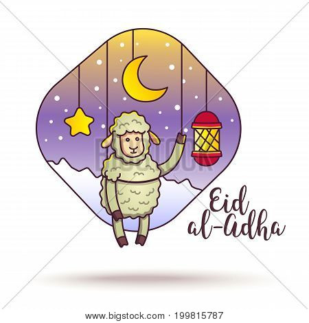 Eid-ul-adha greeting card design. Festival of Sacrifice. Vector flyer