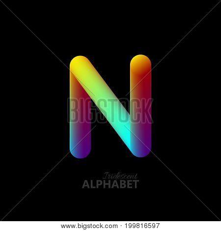 3d iridescent gradient letter N. Typographic minimalistic element. Vibrant gradient shape. Liquid color path. Creativity concept. Visual communication poster design. Vector illustration. Logo template